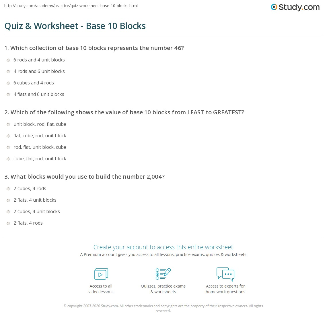 Quiz & Worksheet Base 10 Blocks