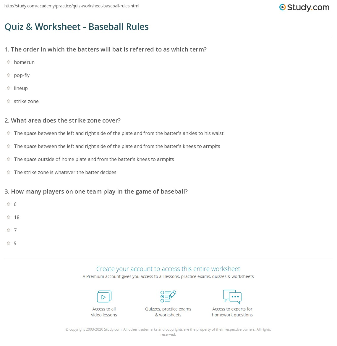 print basic baseball rules worksheet