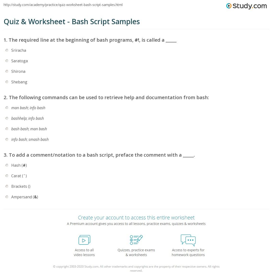 Quiz Worksheet Bash Script Samples Study