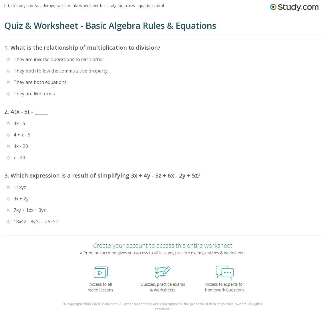 Quiz Worksheet Basic Algebra Rules Equations – Elementary Algebra Worksheets