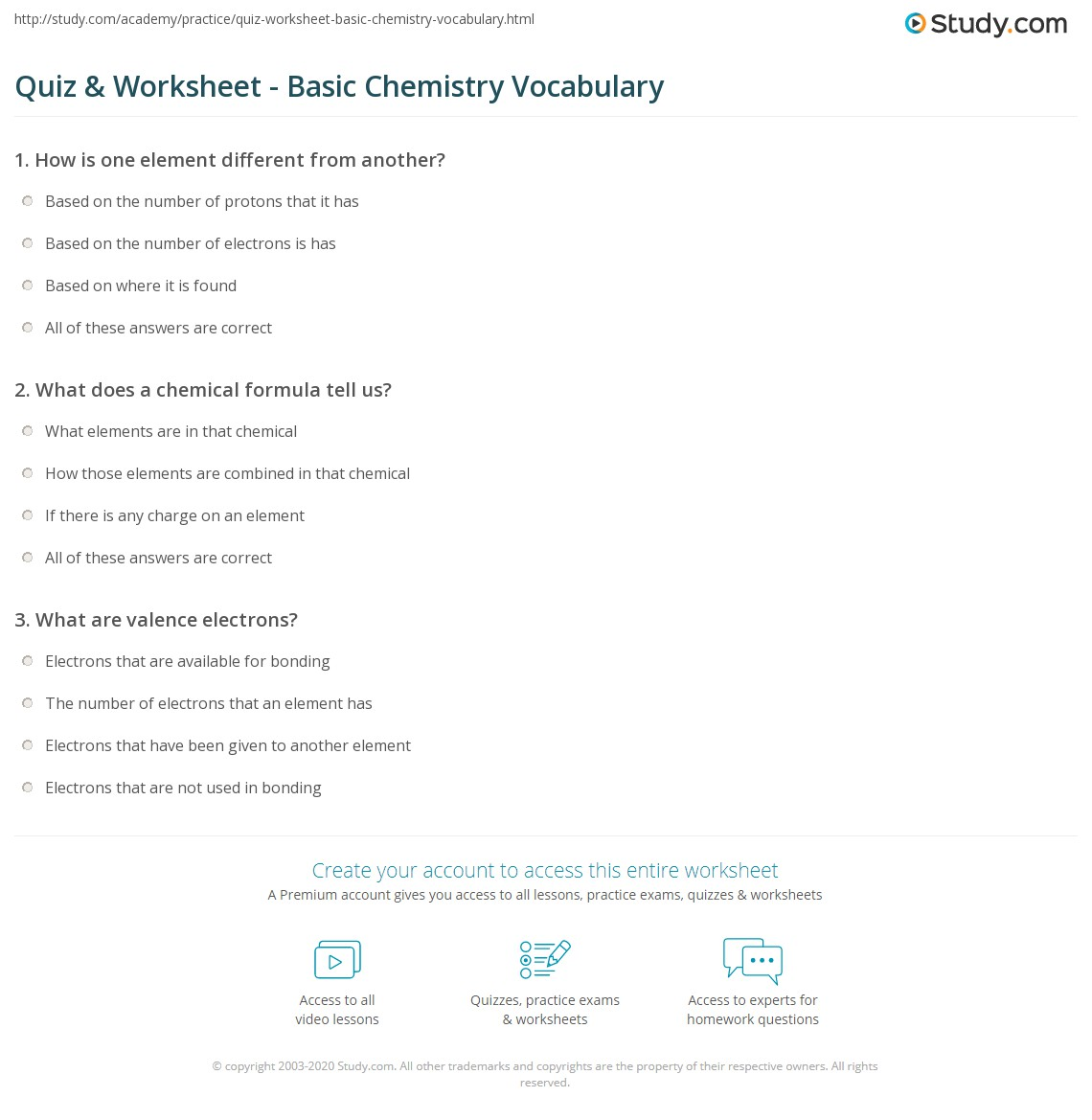 Quiz worksheet basic chemistry vocabulary study print basic chemistry terms worksheet urtaz Images