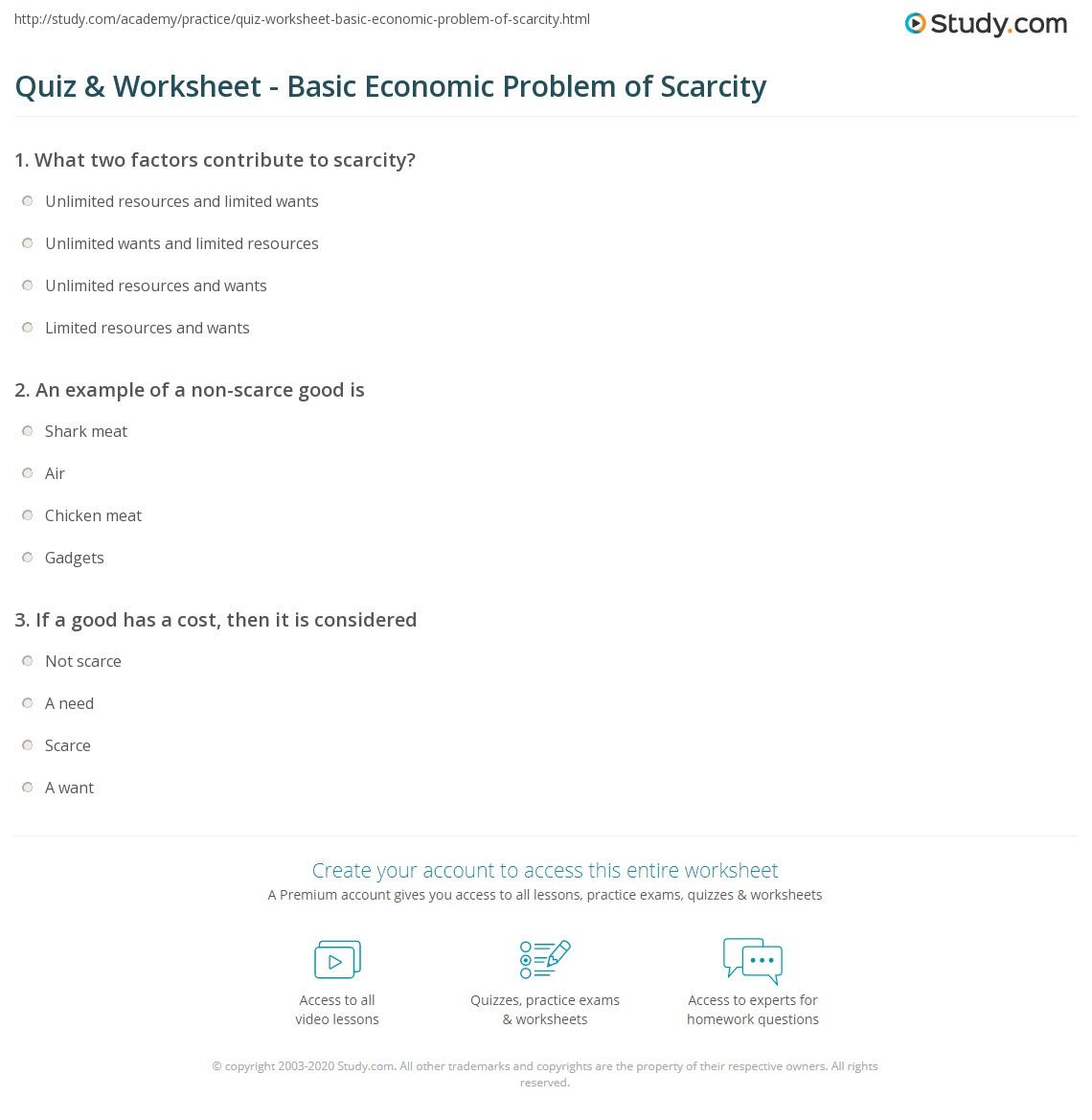 quiz worksheet basic economic problem of scarcity. Black Bedroom Furniture Sets. Home Design Ideas
