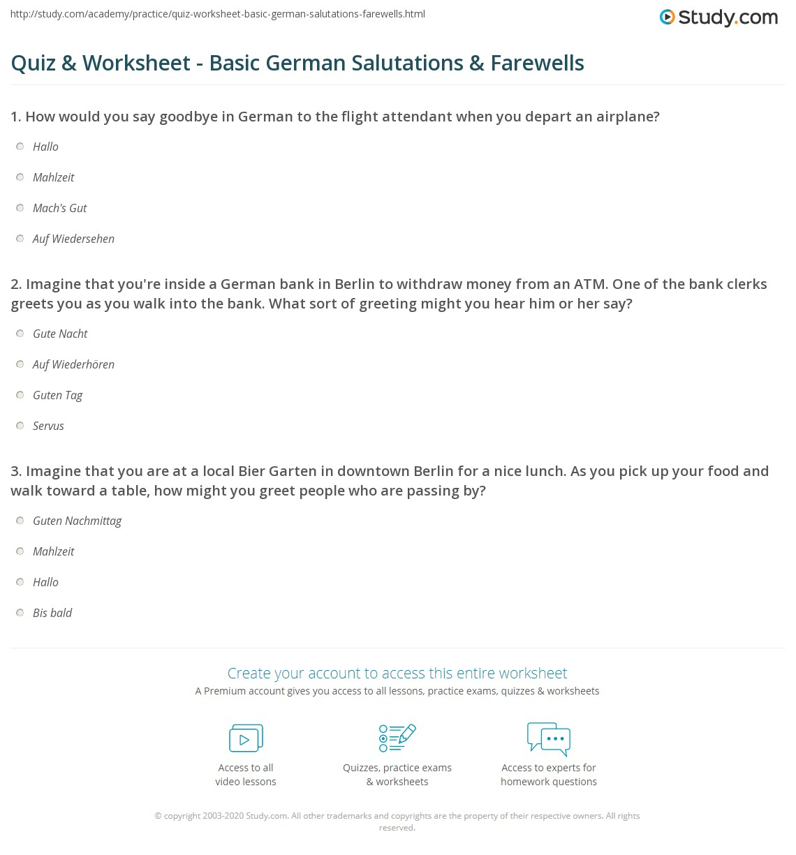 Quiz Worksheet Basic German Salutations Farewells Study