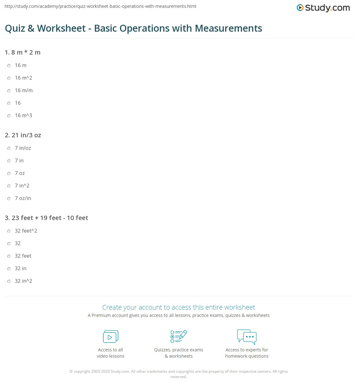 quiz  worksheet  basic operations with measurements  studycom print how to perform basic operations with measurements worksheet