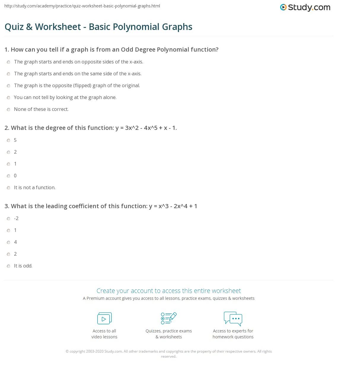 Worksheets Polynomial Worksheet quiz worksheet basic polynomial graphs study com print understanding worksheet