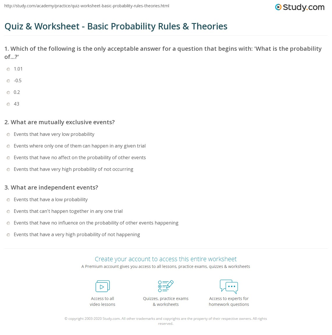 worksheet Probability Review Worksheet quiz worksheet basic probability rules theories study com print theory formulas worksheet