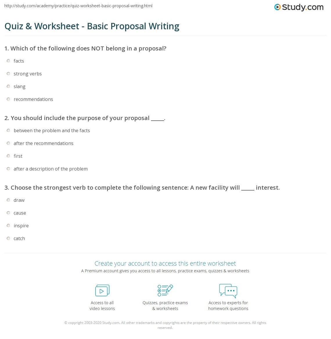 Quiz & Worksheet - Basic Proposal Writing | Study.com