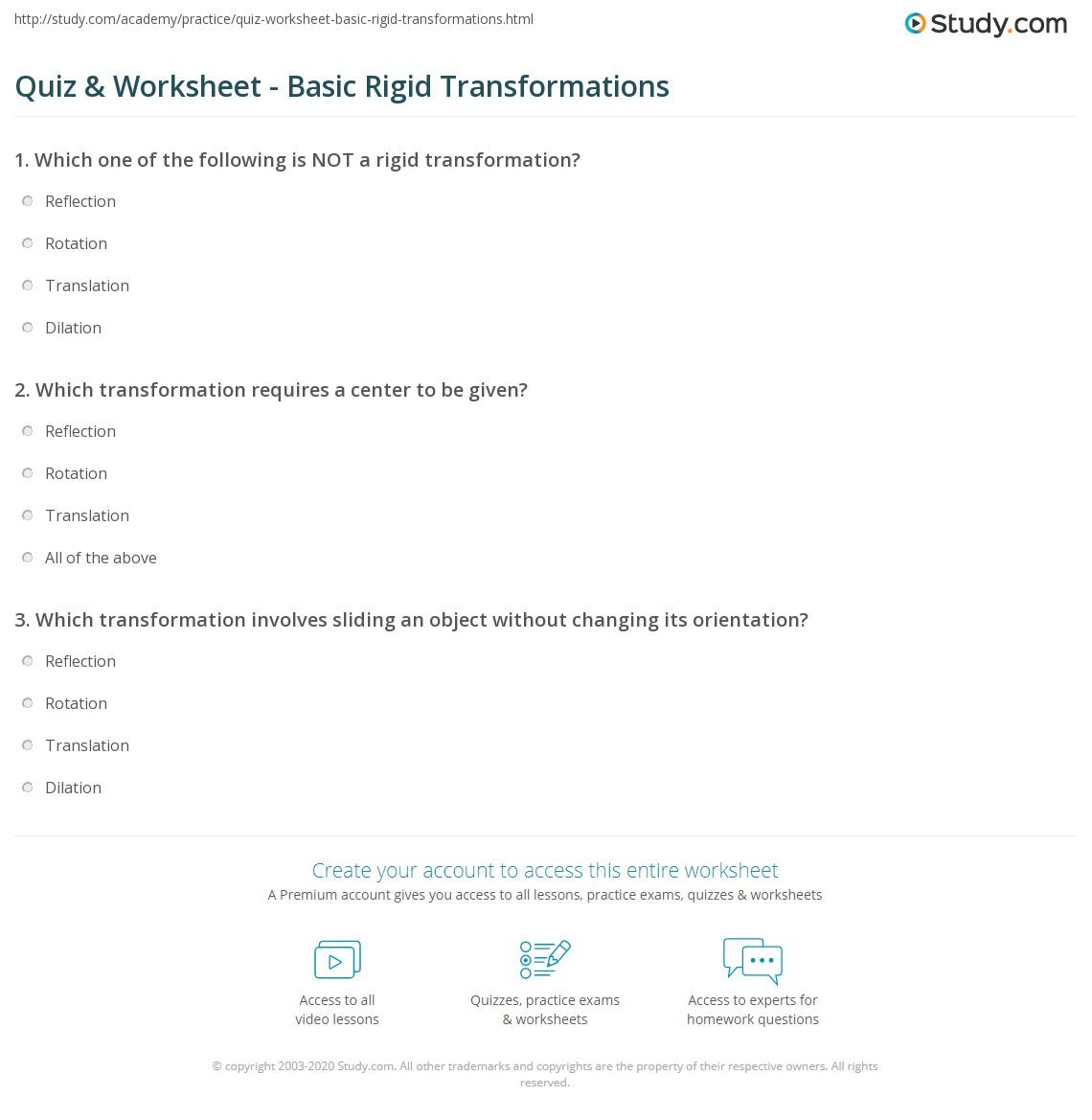 Quiz Worksheet Basic Rigid Transformations – Translation Reflection Rotation Worksheet