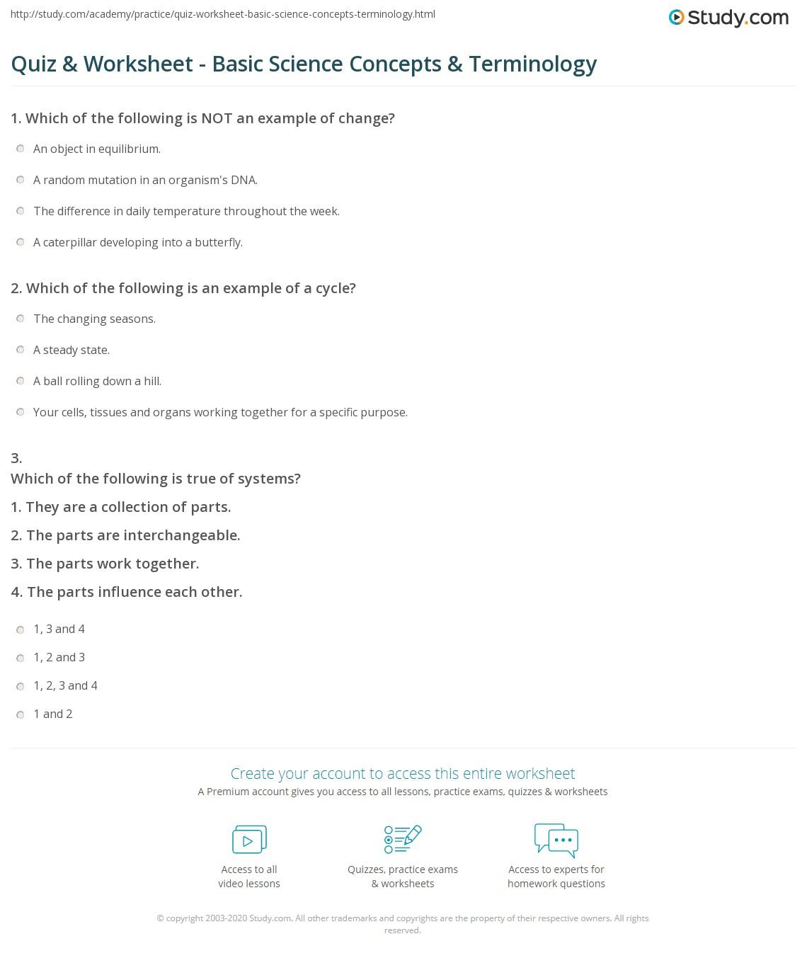 Worksheets Basic Science Worksheets quiz worksheet basic science concepts terminology study com print worksheet