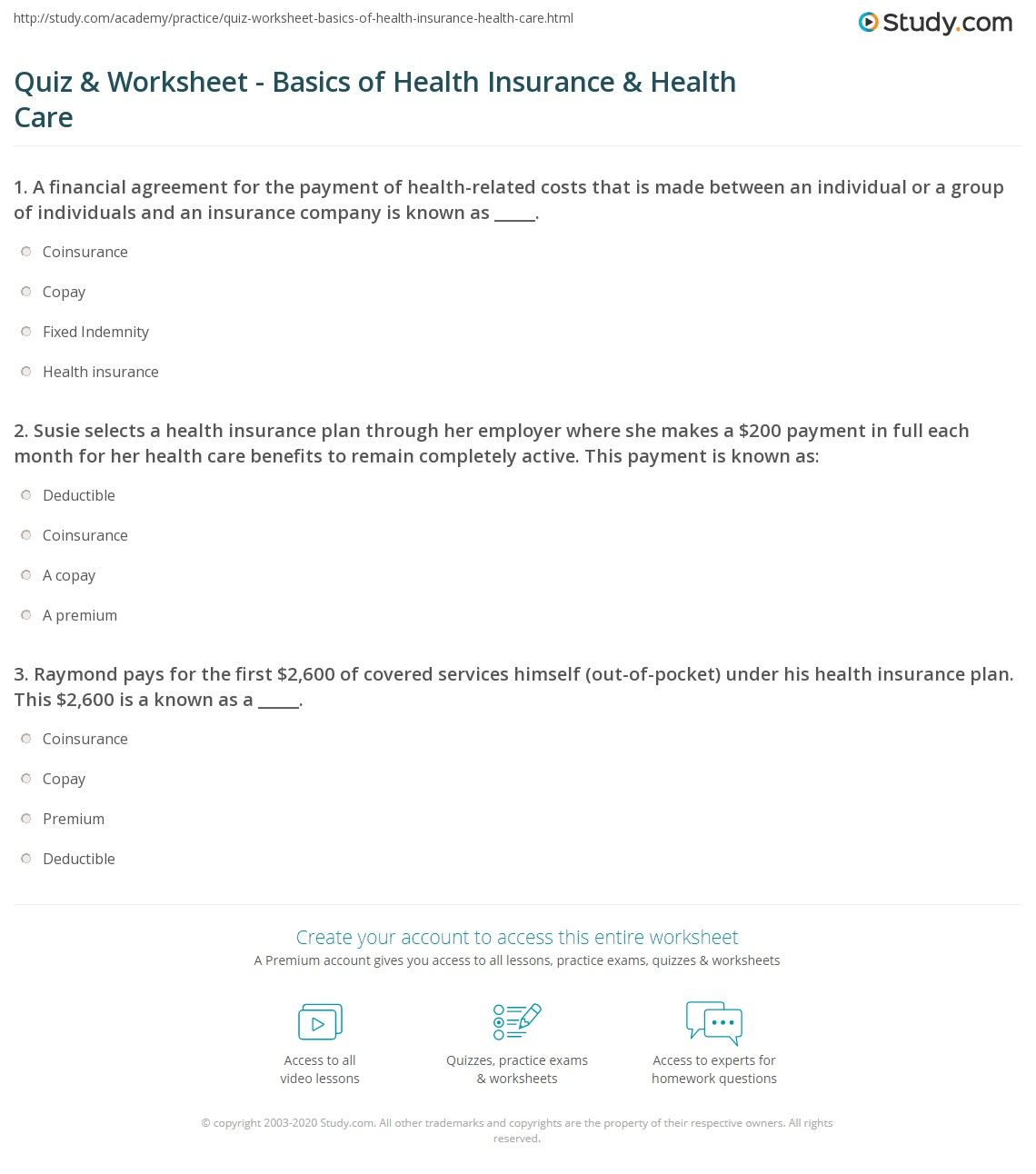 Quiz Worksheet Basics Of Health Insurance Health Care