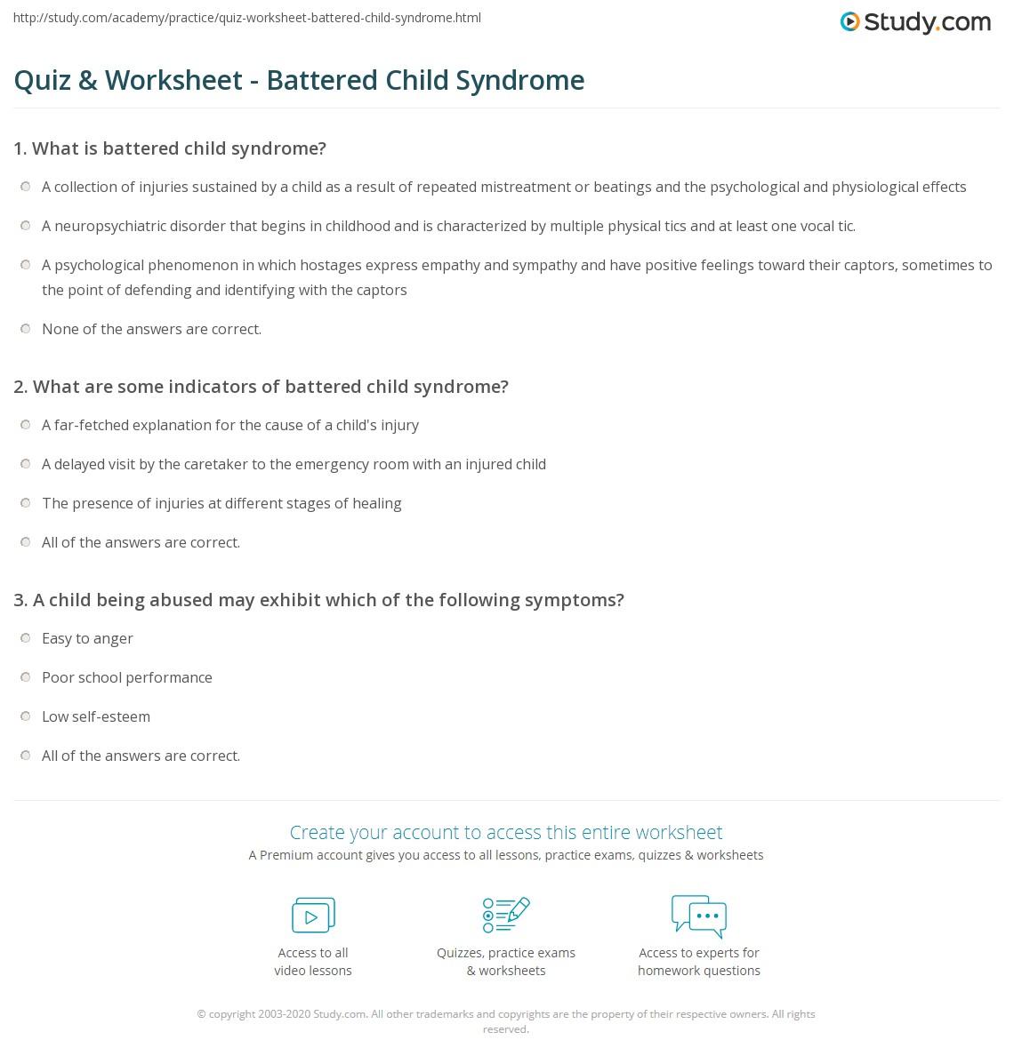 Quiz & Worksheet - Battered Child Syndrome   Study.com