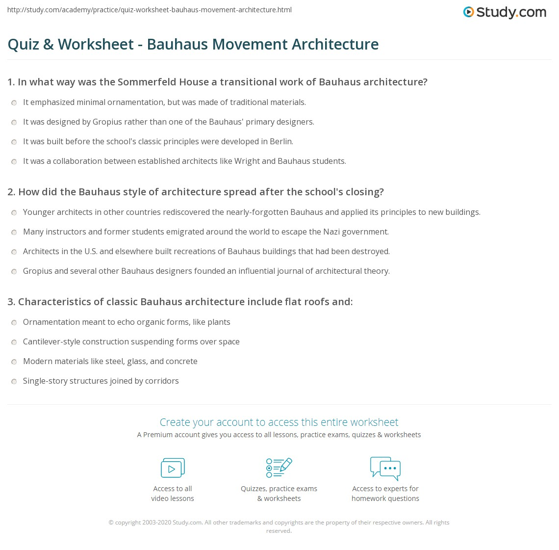 quiz worksheet bauhaus movement architecture study com
