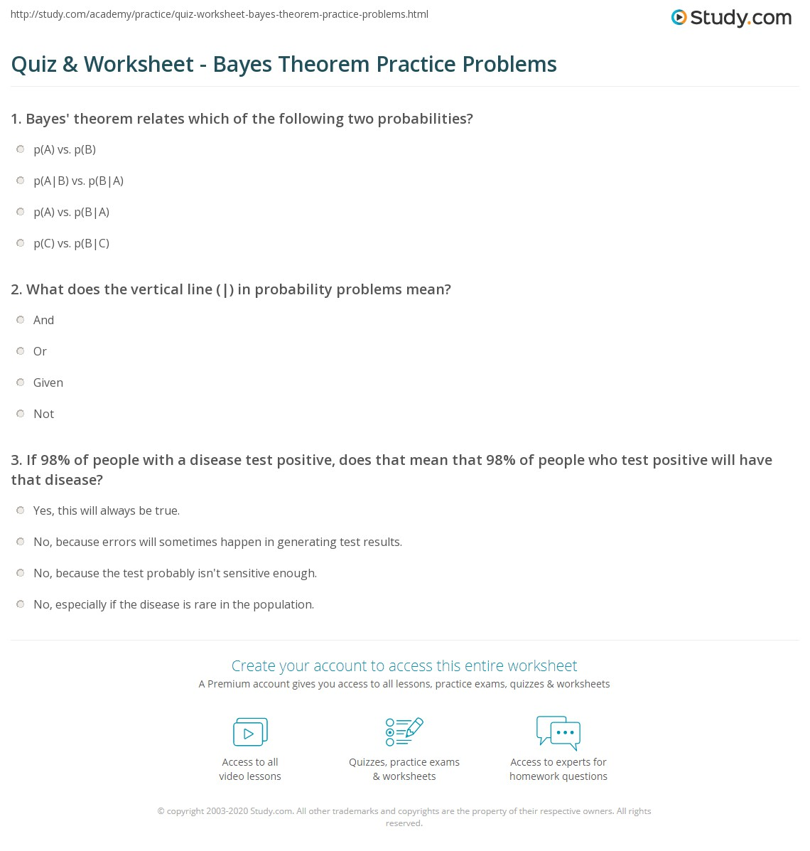 Quiz & Worksheet - Bayes Theorem Practice Problems | Study com