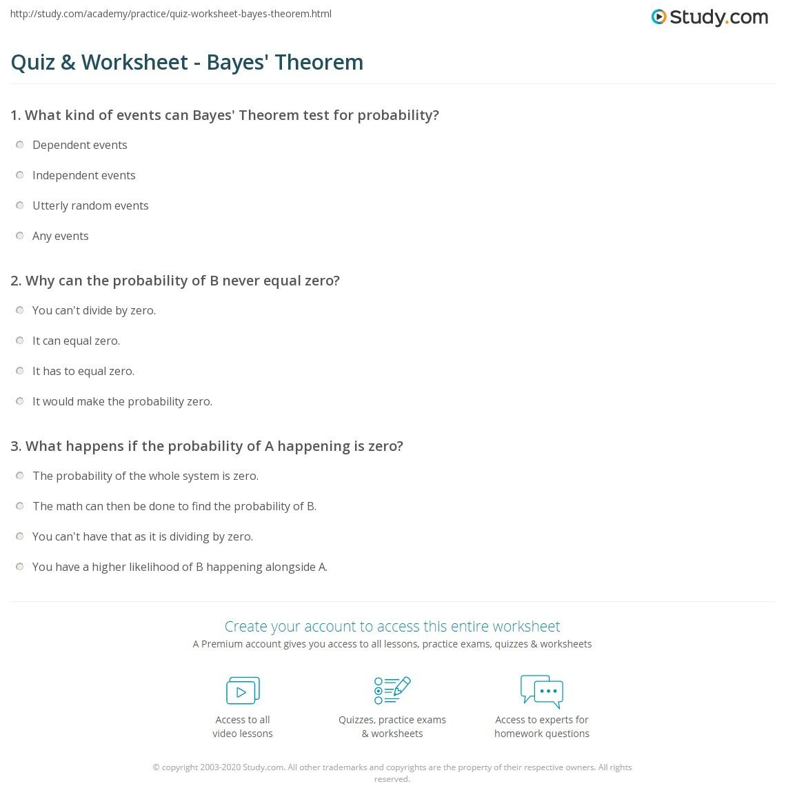 Quiz Worksheet Bayes Theorem Study