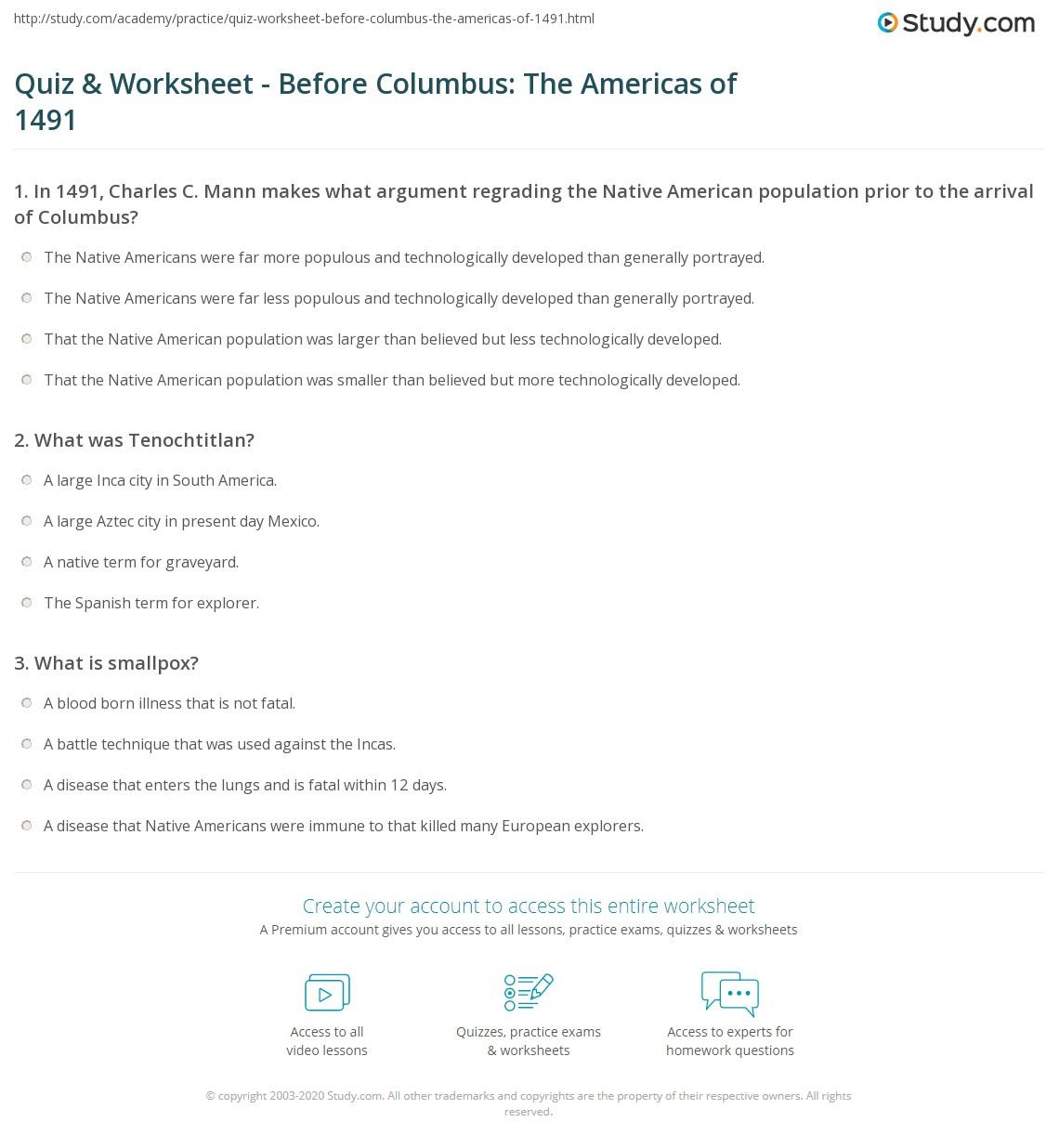 Quiz Worksheet Before Columbus The Americas of 1491 – Aztec Worksheets