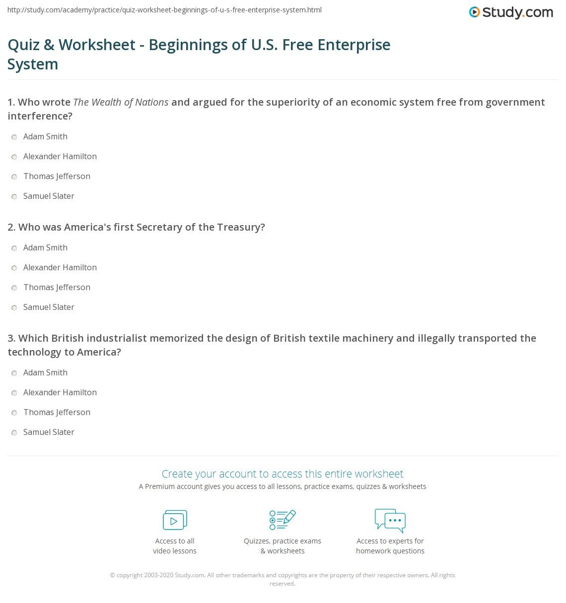 quiz worksheet beginnings of u s free enterprise system. Black Bedroom Furniture Sets. Home Design Ideas