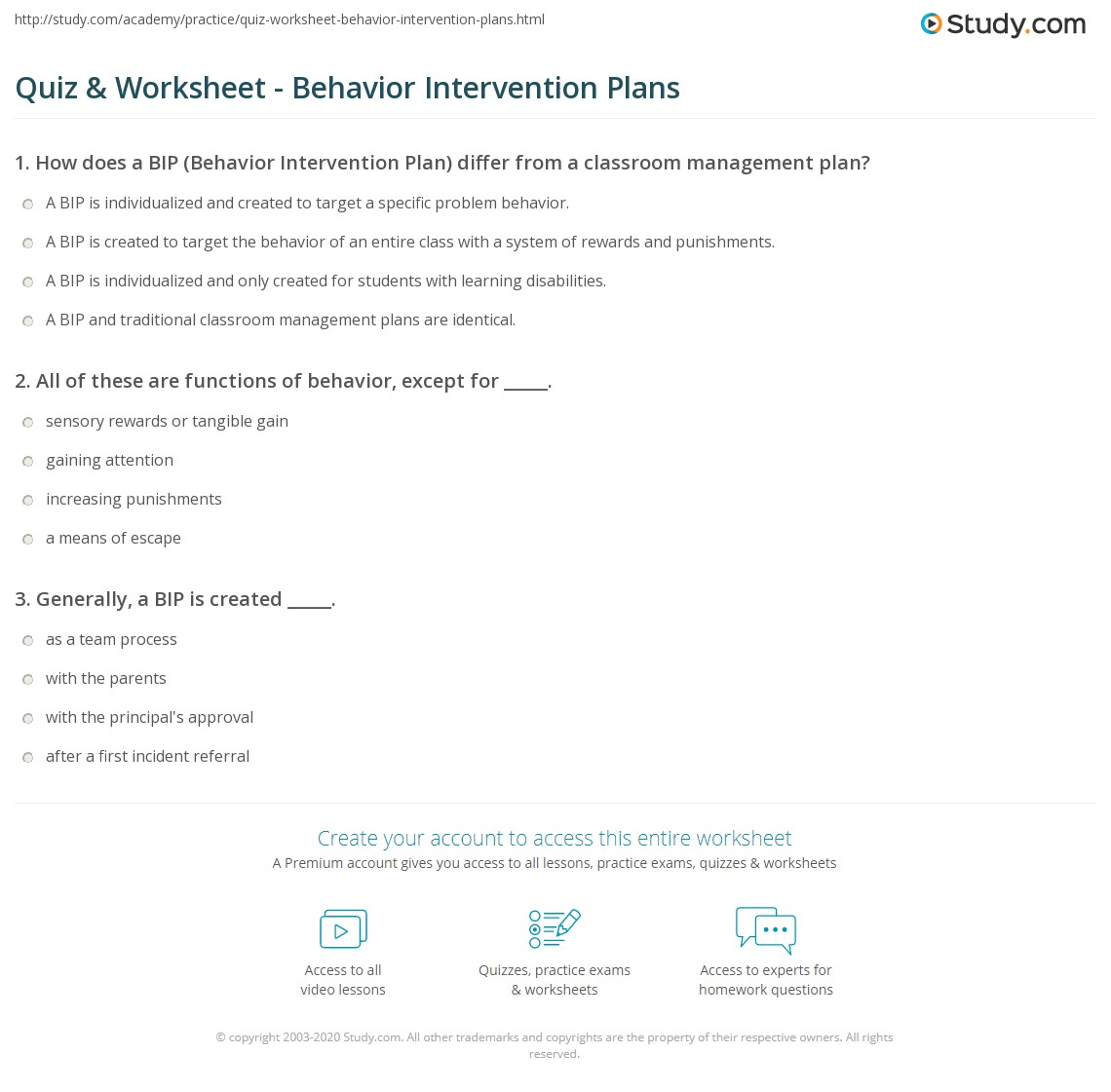 Quiz Worksheet Behavior Intervention Plans Study Com