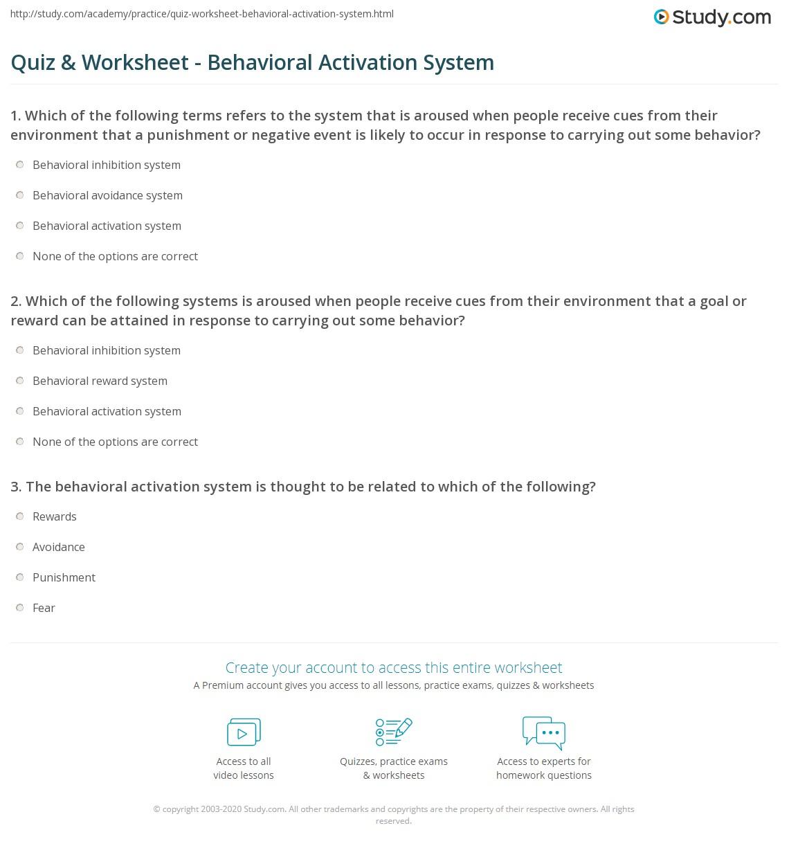 worksheet Behavioral Activation Worksheet quiz worksheet behavioral activation system study com print what is a worksheet
