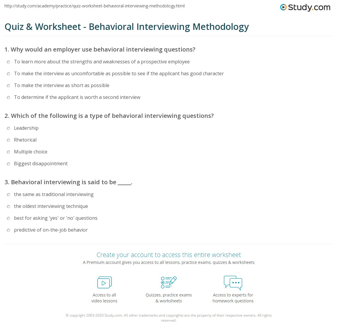 behavioral type questions