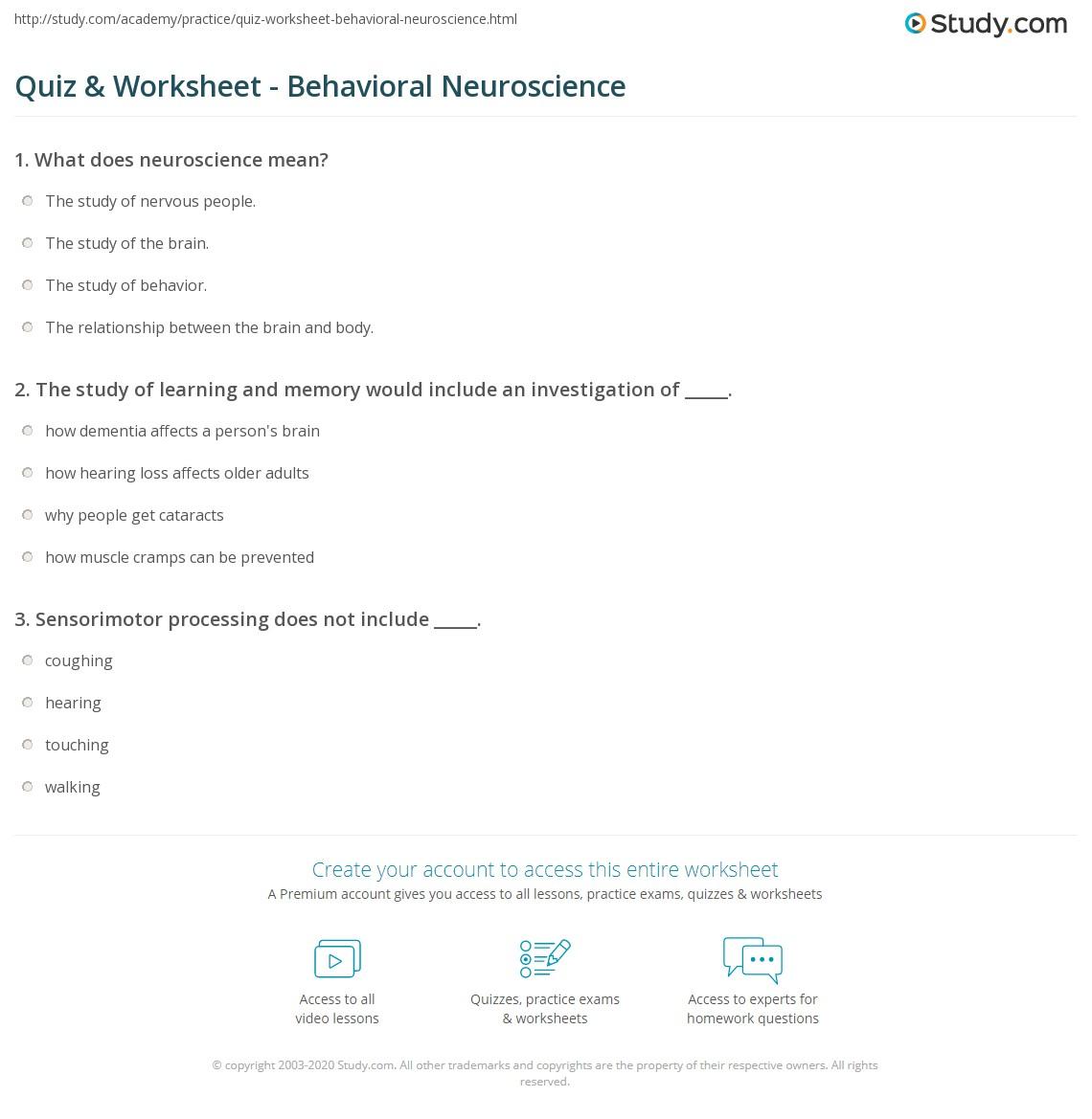 worksheet Behavioral Activation Worksheet quiz worksheet behavioral neuroscience study com print what is worksheet