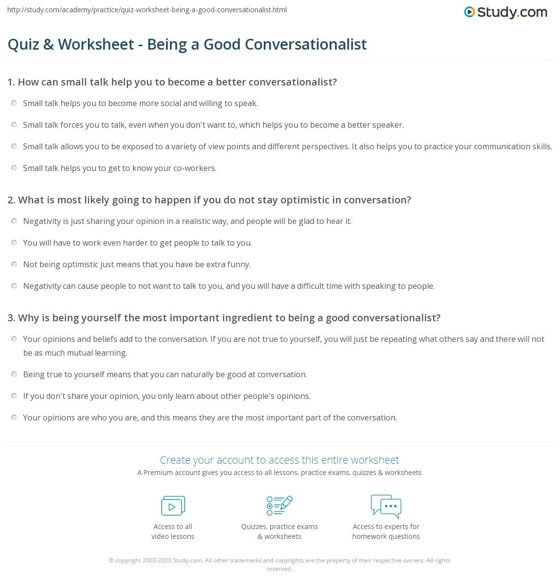 Become a good conversationalist