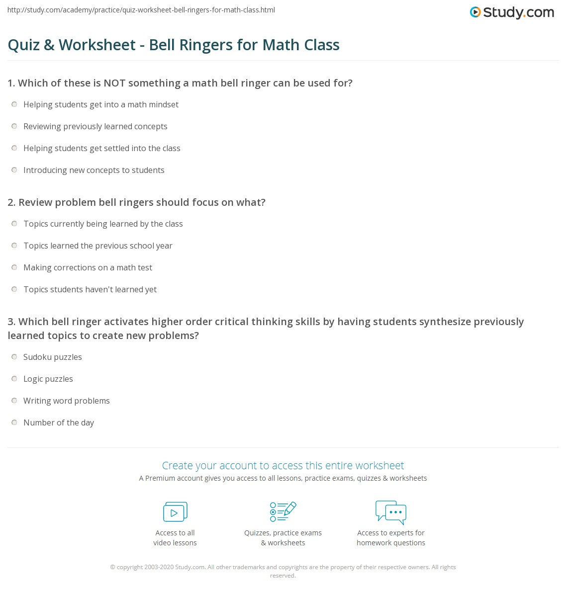 Quiz & Worksheet - Bell Ringers for Math Class | Study.com