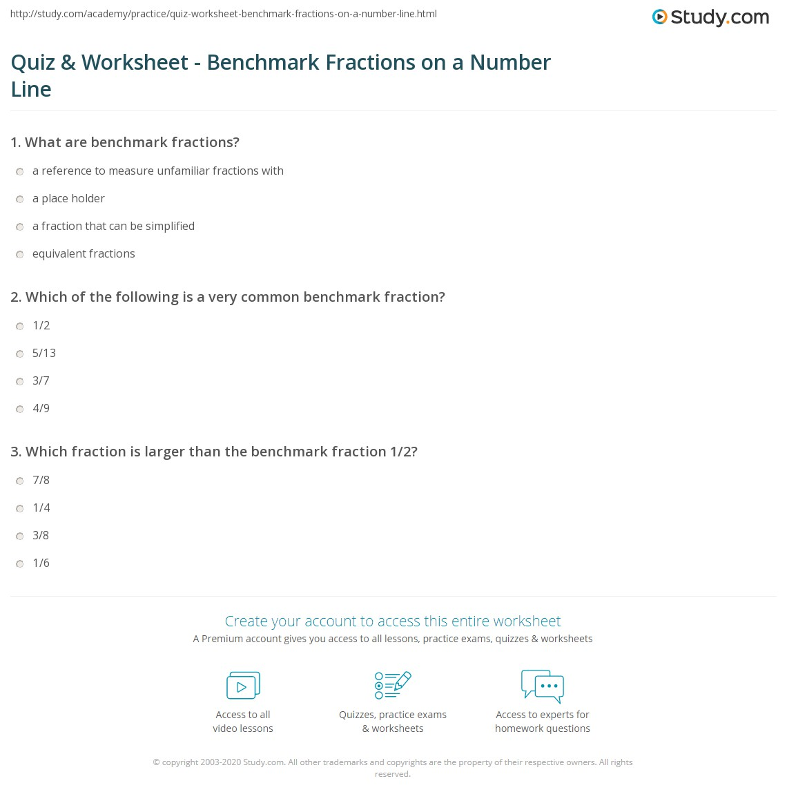 Quiz & Worksheet - Benchmark Fractions on a Number Line | Study.com