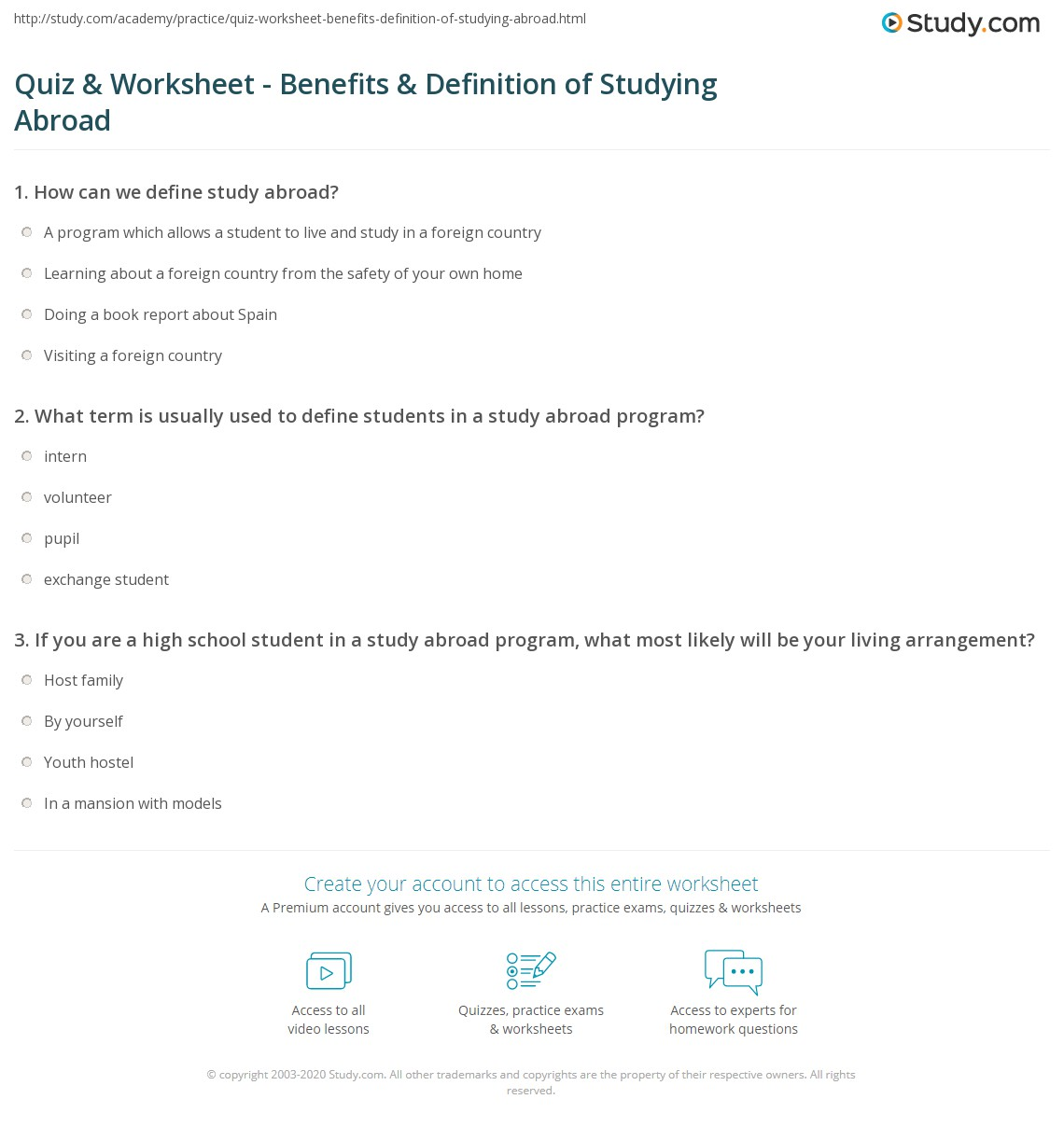 Quiz & Worksheet - Benefits & Definition of Studying Abroad | Study.com