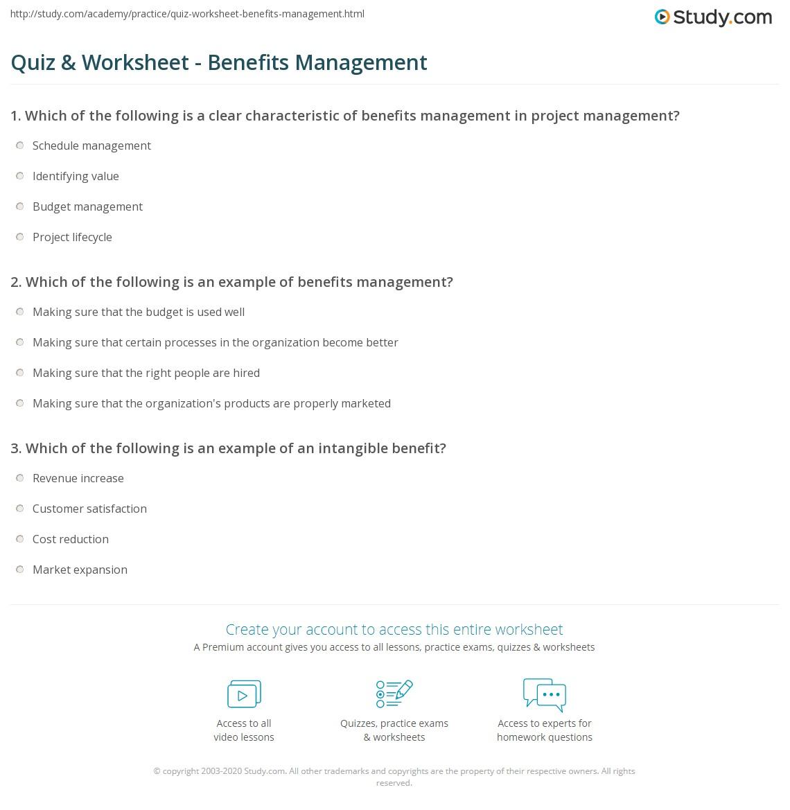 Quiz Worksheet Benefits Management Study
