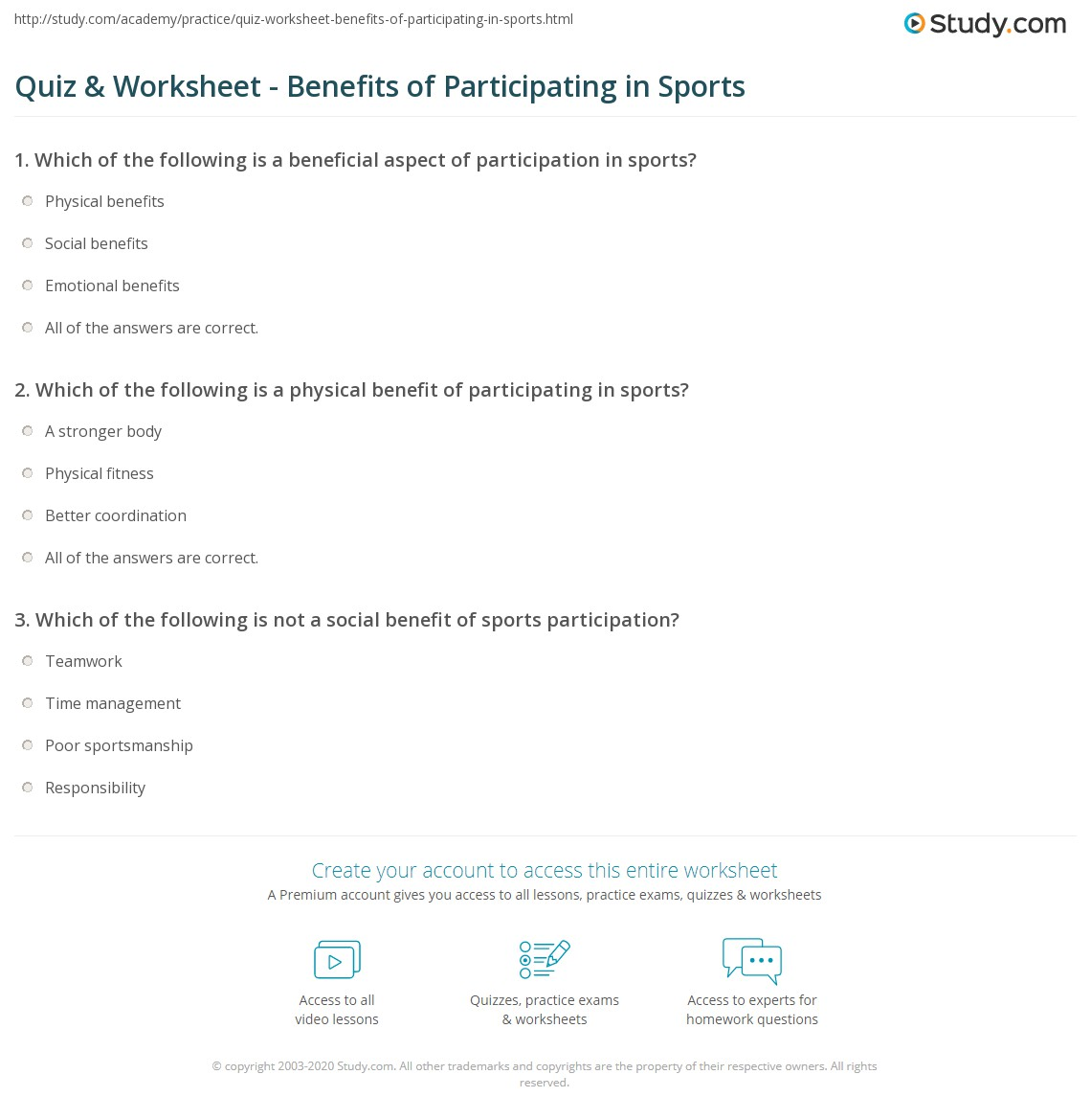 worksheet Sports Worksheets quiz worksheet benefits of participating in sports study com print physical social and emotional worksheet