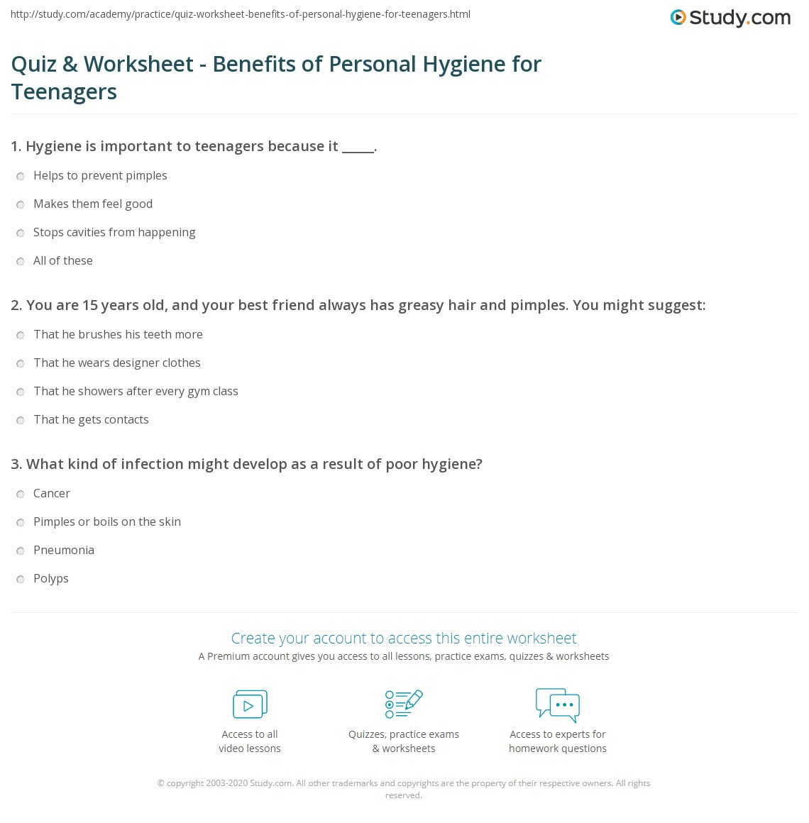 Quiz Worksheet Benefits Of Personal Hygiene For Teenagers