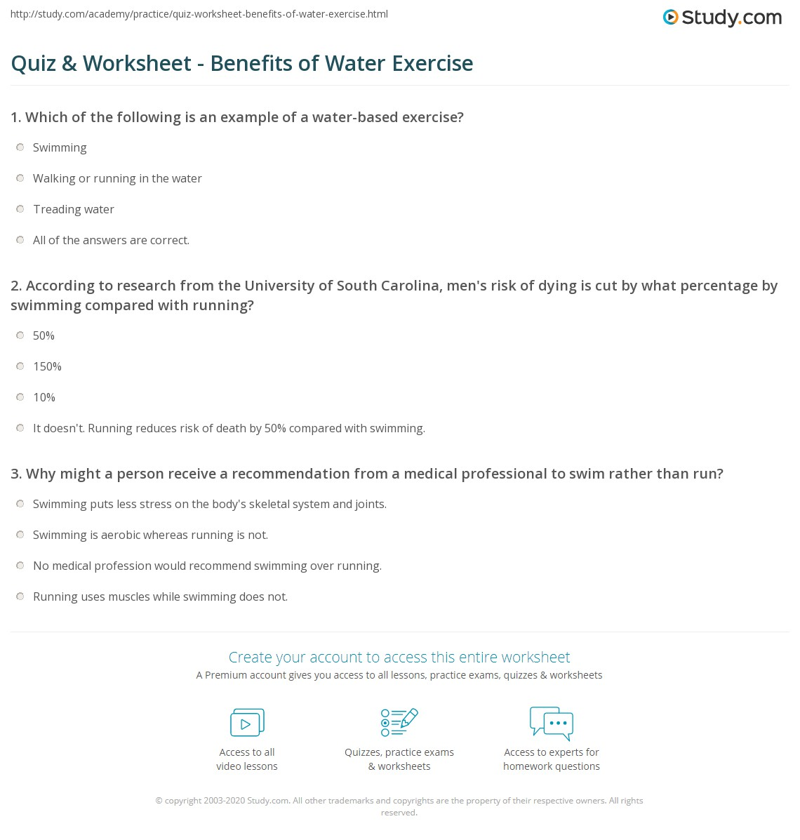 Quiz worksheet benefits of water exercise study print the benefits of swimming worksheet 1betcityfo Image collections