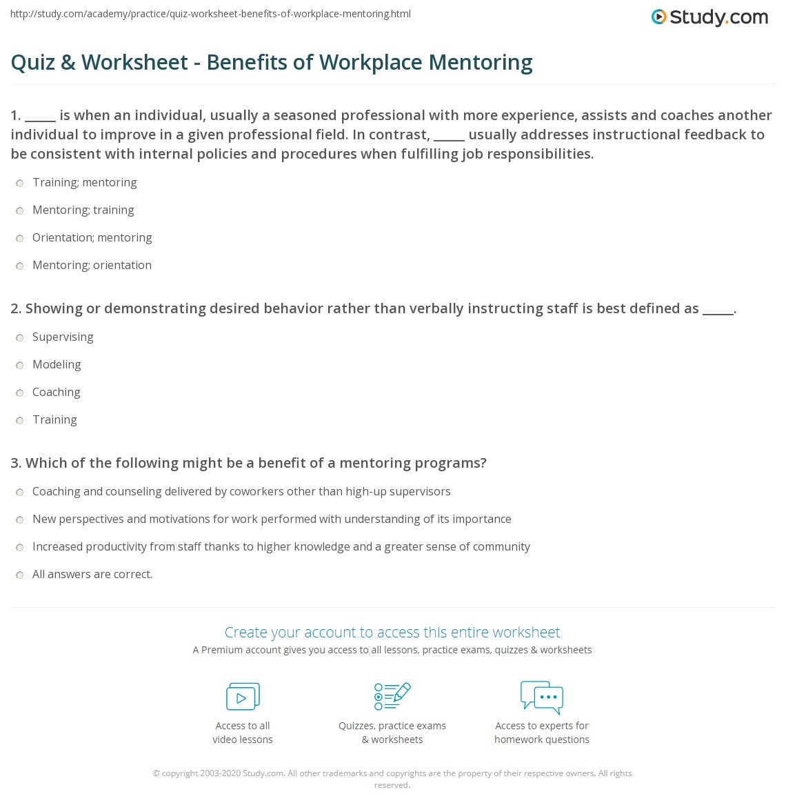 Worksheets Mentoring Worksheets collection of mentoring worksheets adriaticatoursrl quiz worksheet benefits workplace study com