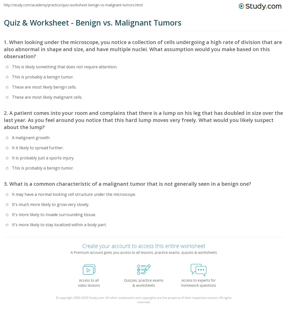 quiz & worksheet - benign vs. malignant tumors | study