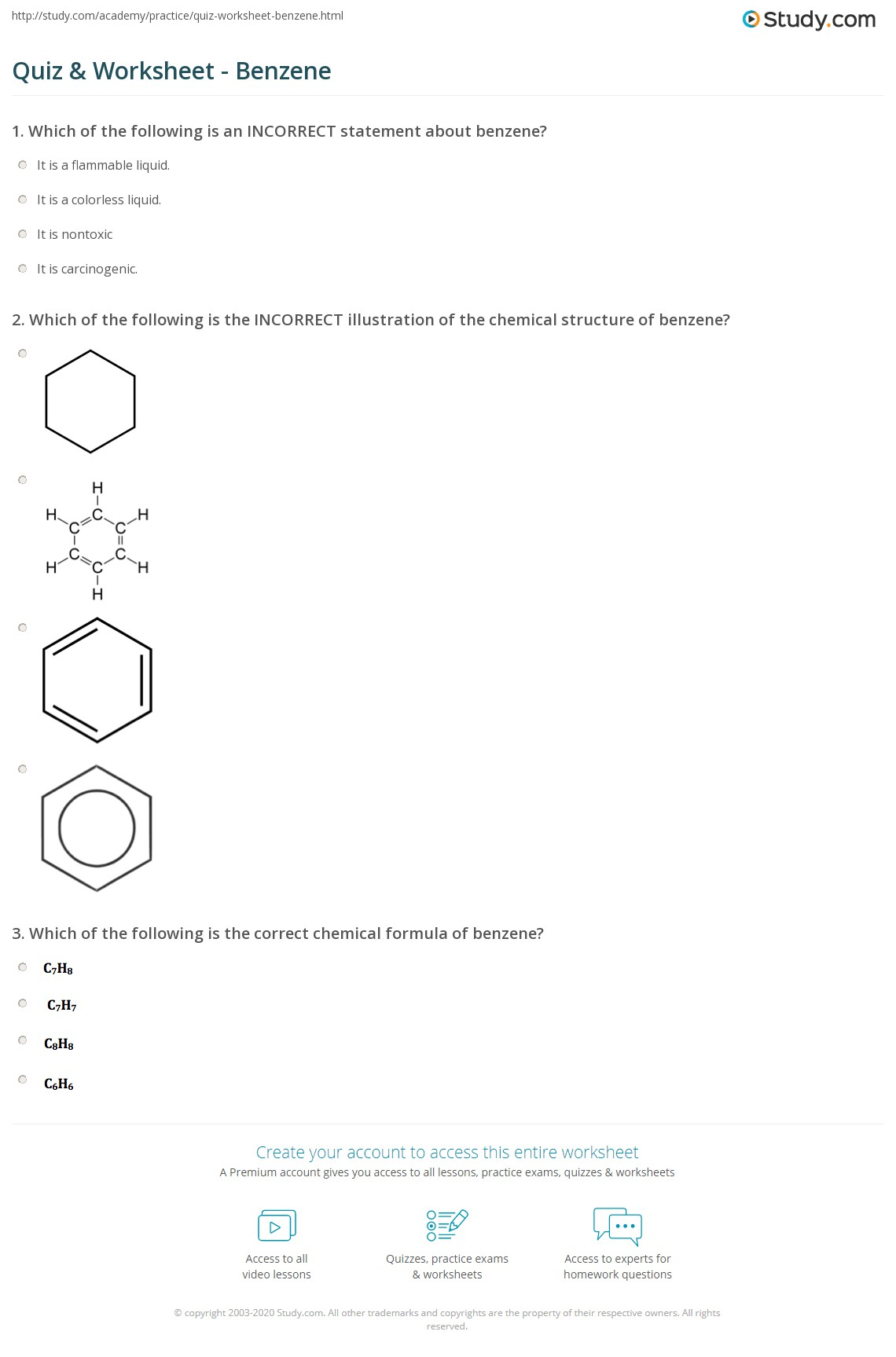 Quiz Worksheet Benzene Electronic Circuit Design Already Registered Login Here For Access