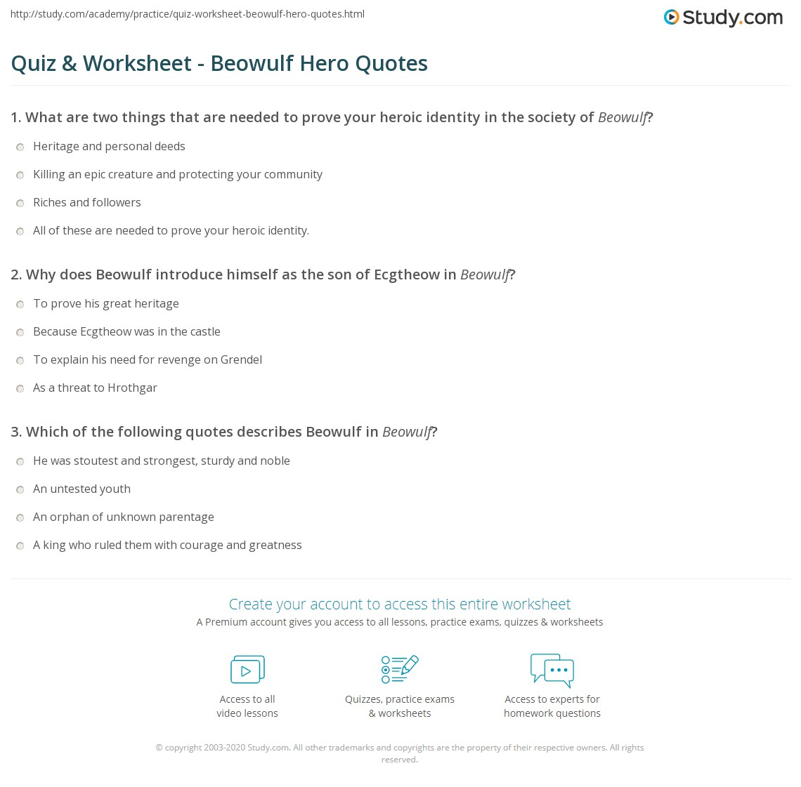 Hero Quotes | Quiz Worksheet Beowulf Hero Quotes Study Com
