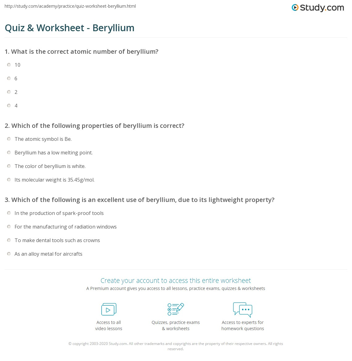 Quiz worksheet beryllium study which of the following properties of beryllium is correct the atomic symbol biocorpaavc Images
