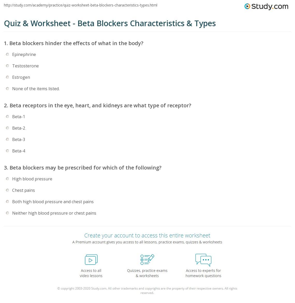 Quiz Worksheet Beta Blockers Characteristics Types Study