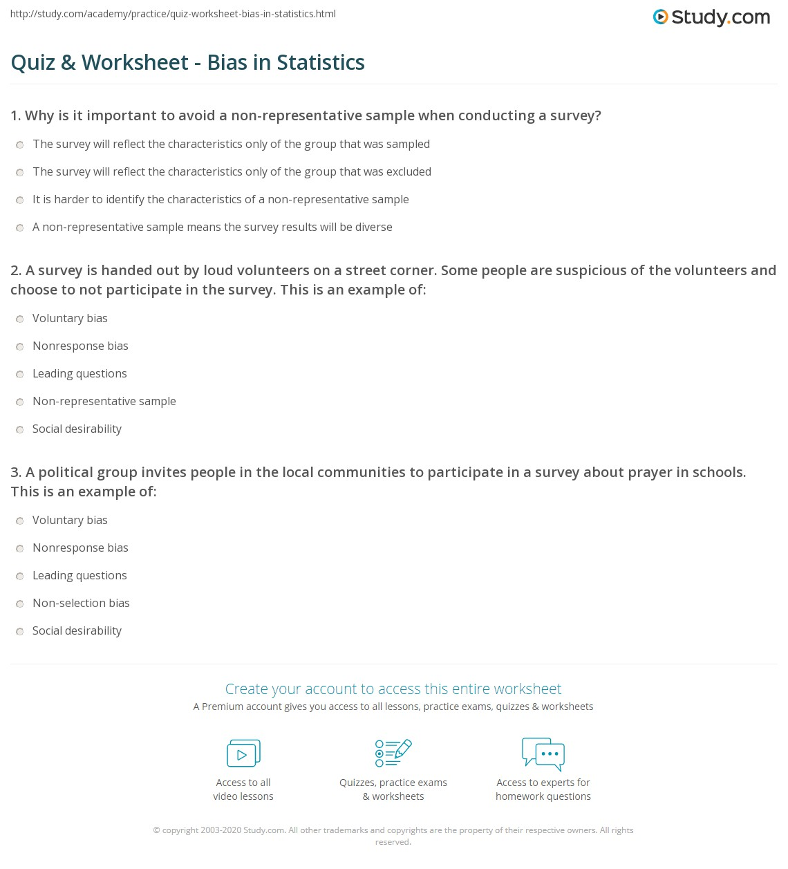 Quiz Worksheet Bias In Statistics Study Com
