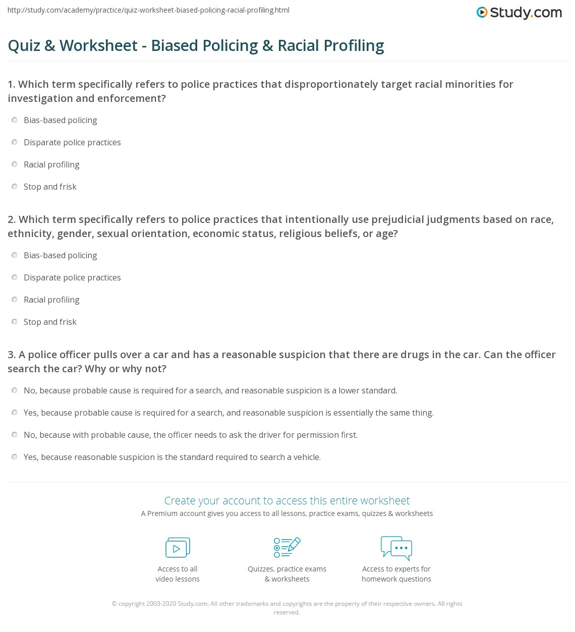 quiz & worksheet - biased policing & racial profiling | study
