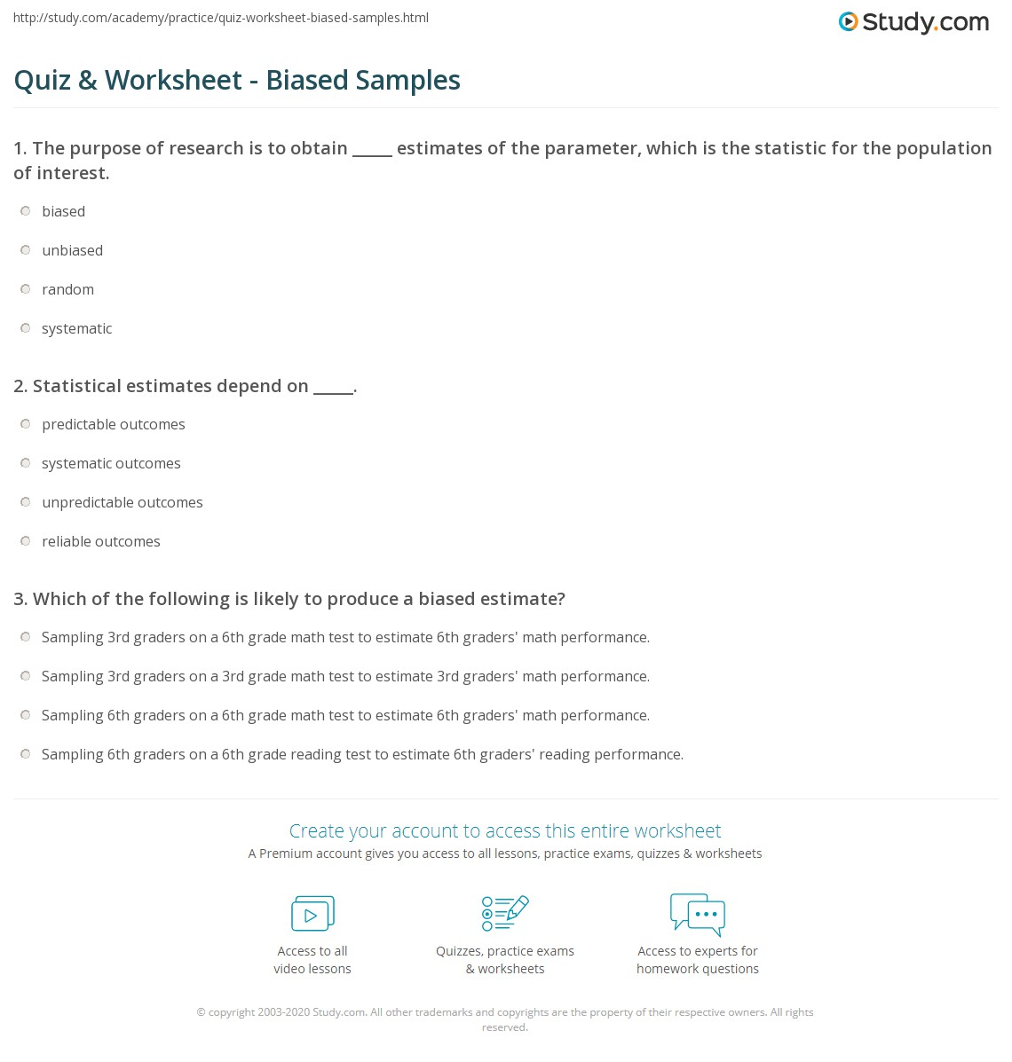 quiz worksheet biased samples study com print what is a biased sample definition examples worksheet
