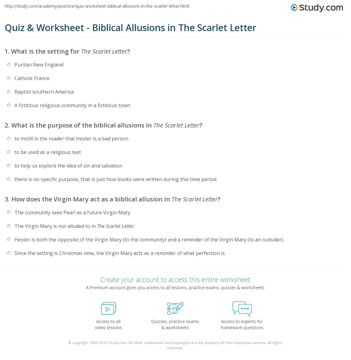 Quiz & Worksheet   Biblical Allusions in The Scarlet Letter