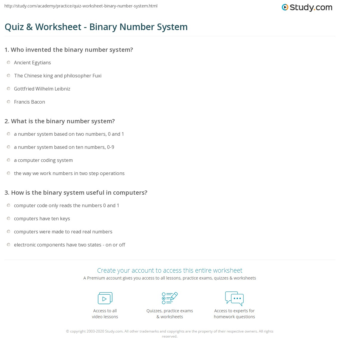 Quiz & Worksheet - Binary Number System | Study.com
