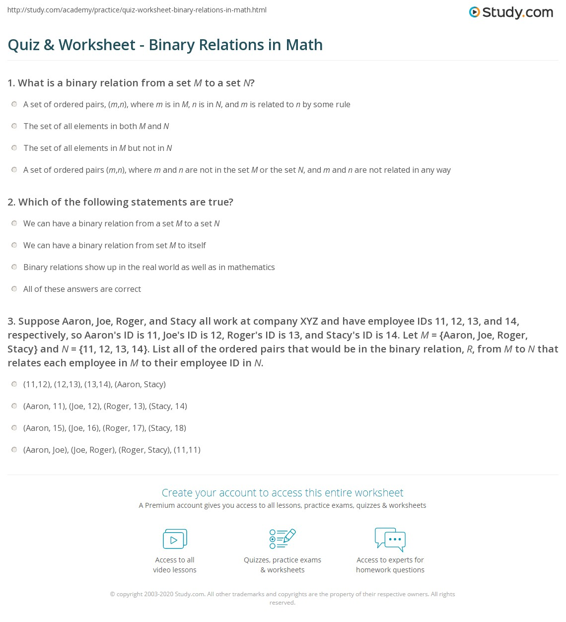 quiz & worksheet - binary relations in math | study