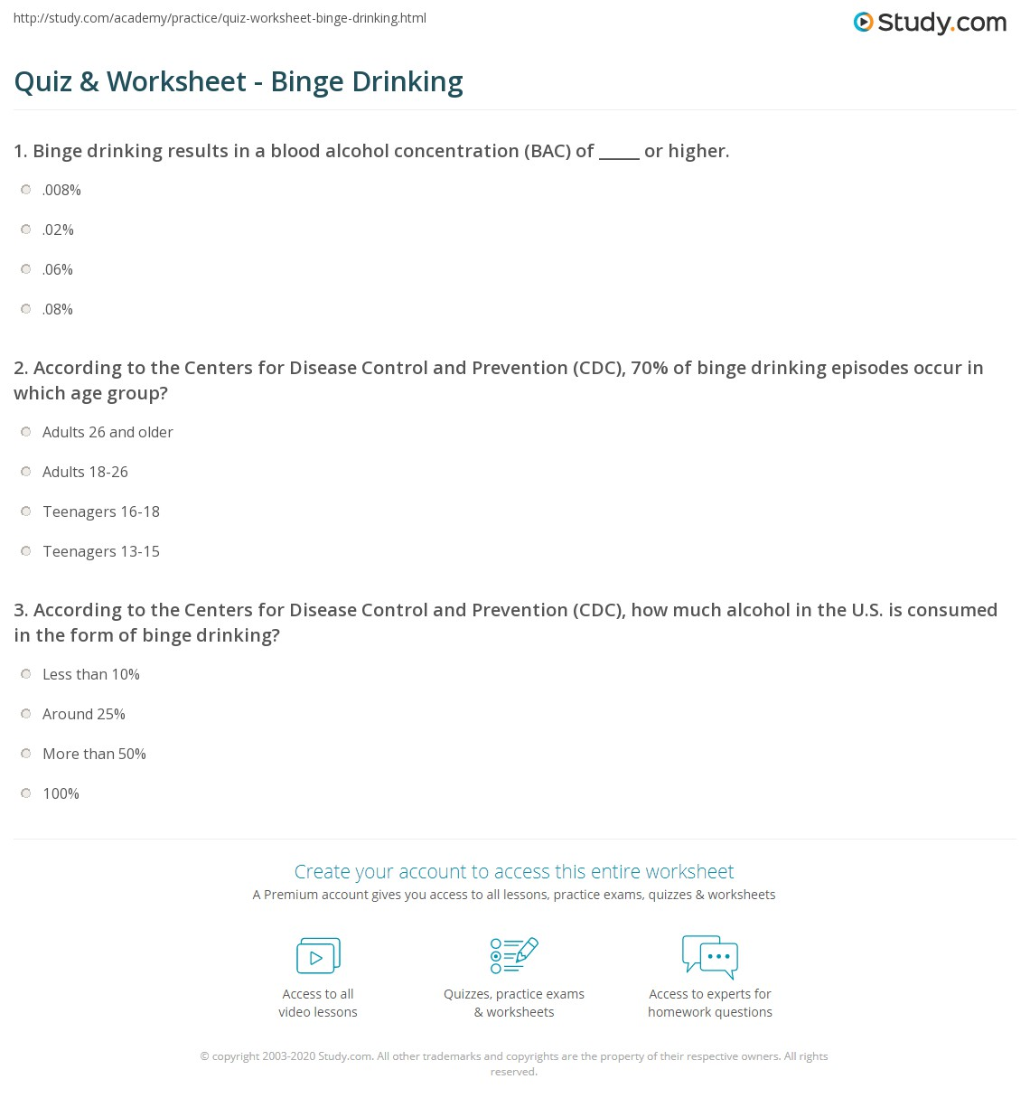 quiz & worksheet - binge drinking | study