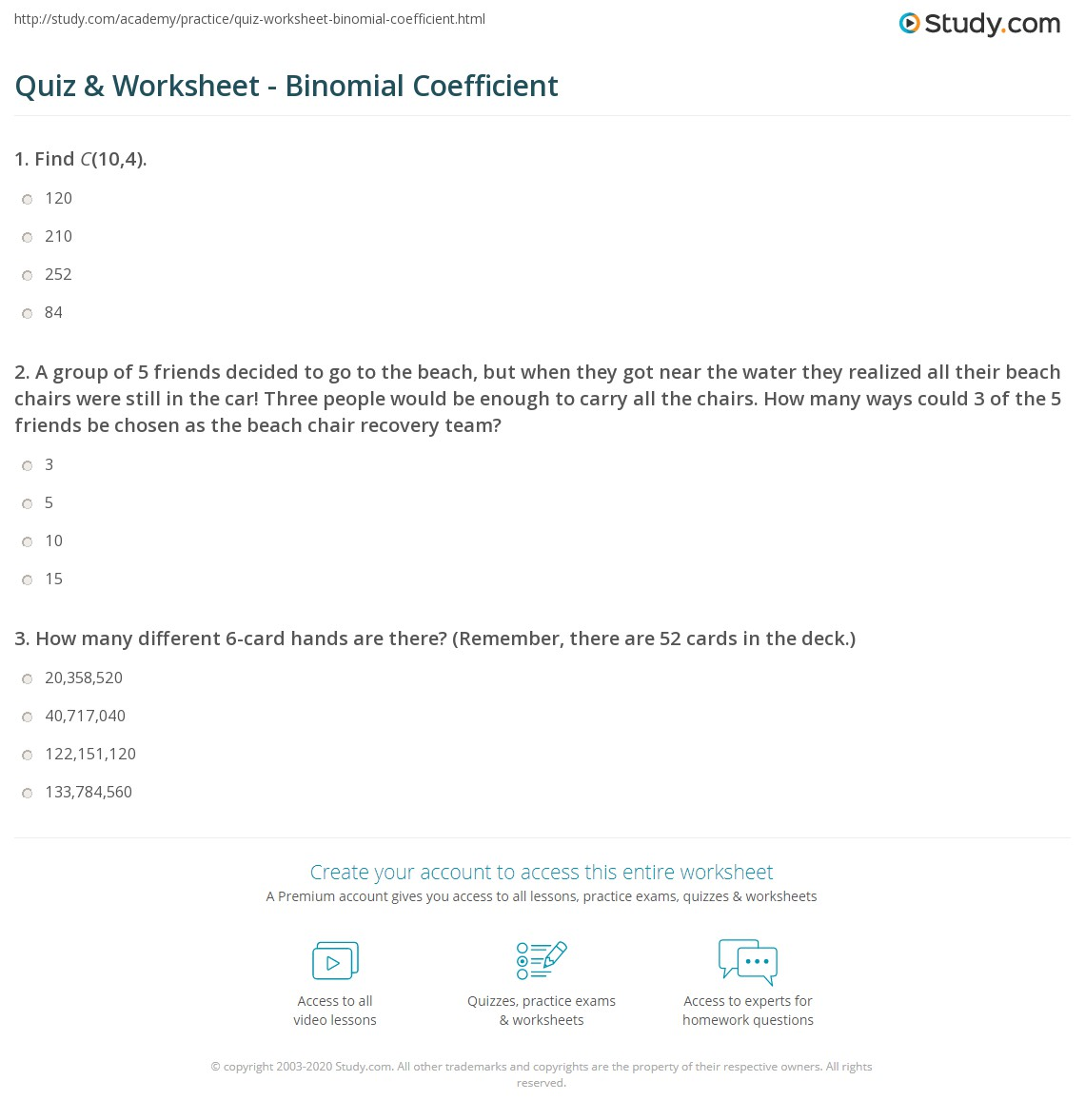 Uncategorized Binomial Distribution Worksheet quiz worksheet binomial coefficient study com 1 a group of 5 friends decided to go the beach but when they got near water realized all their chairs were still in car