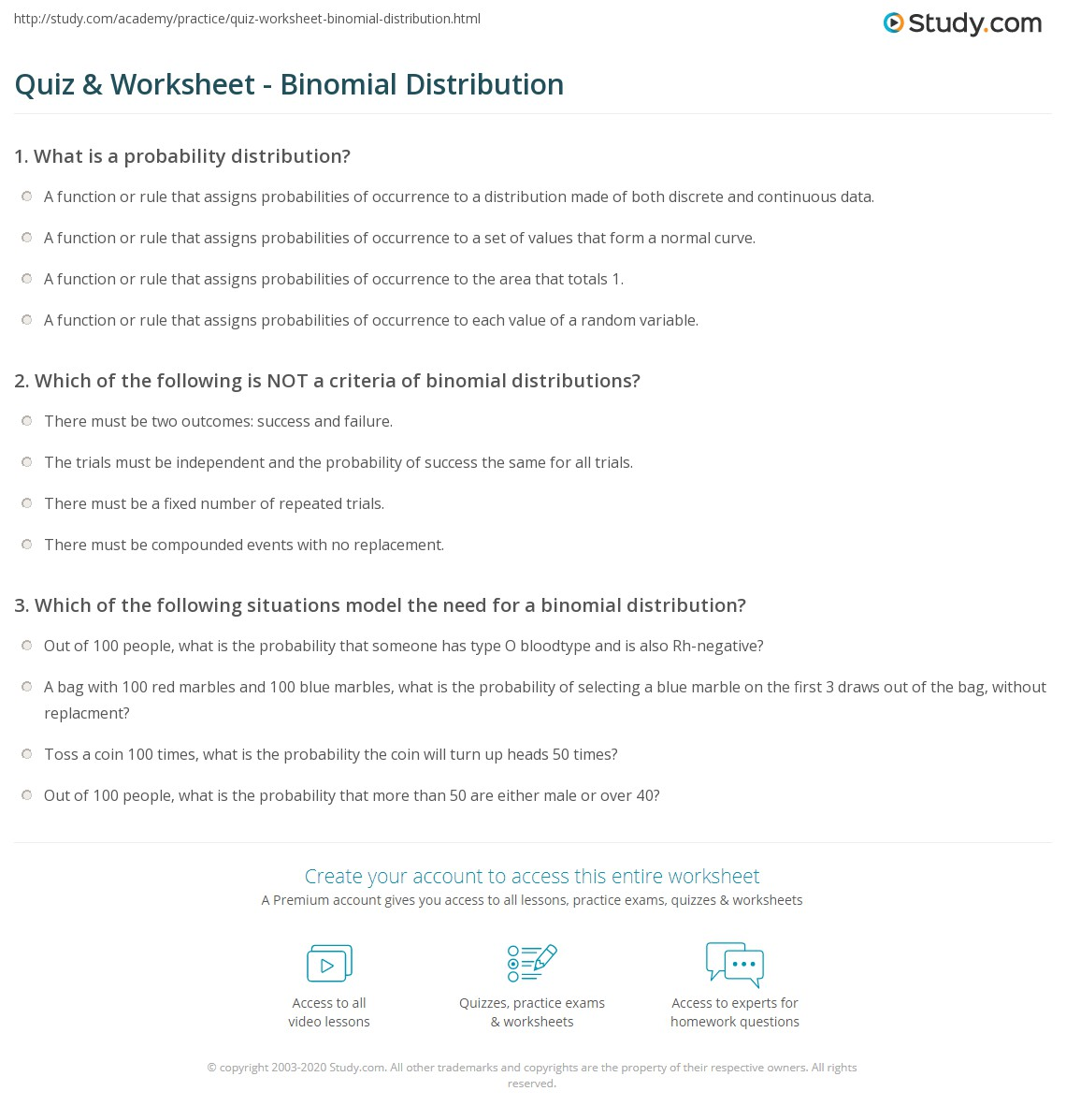 Binomial Distribution Worksheet - Oaklandeffect