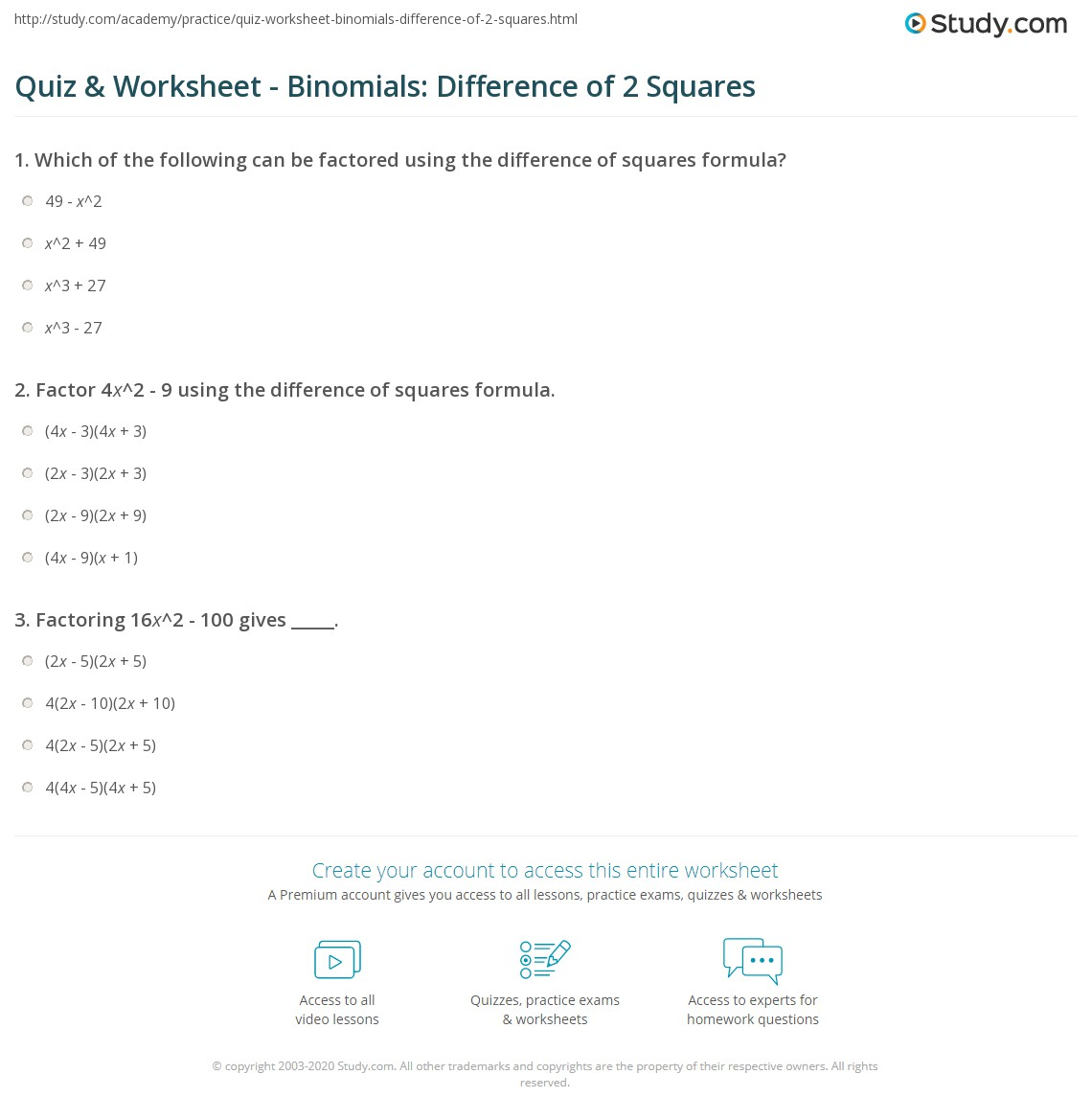 Quiz Worksheet Binomials Difference of 2 Squares – Difference of Two Squares Worksheet