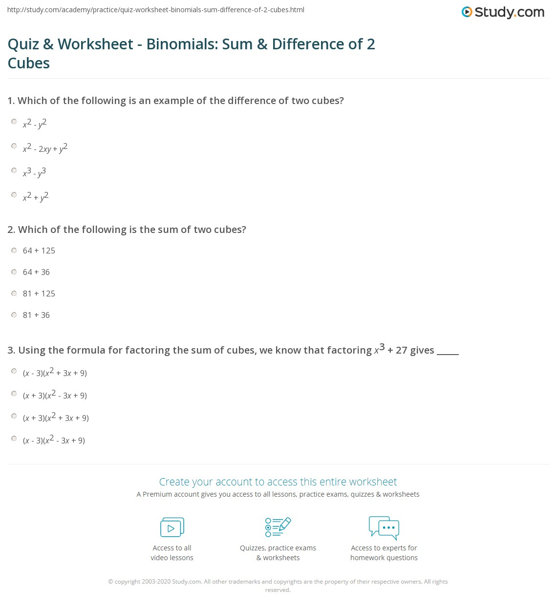 Quiz Worksheet Binomials Sum Difference Of 2 Cubes Study Com