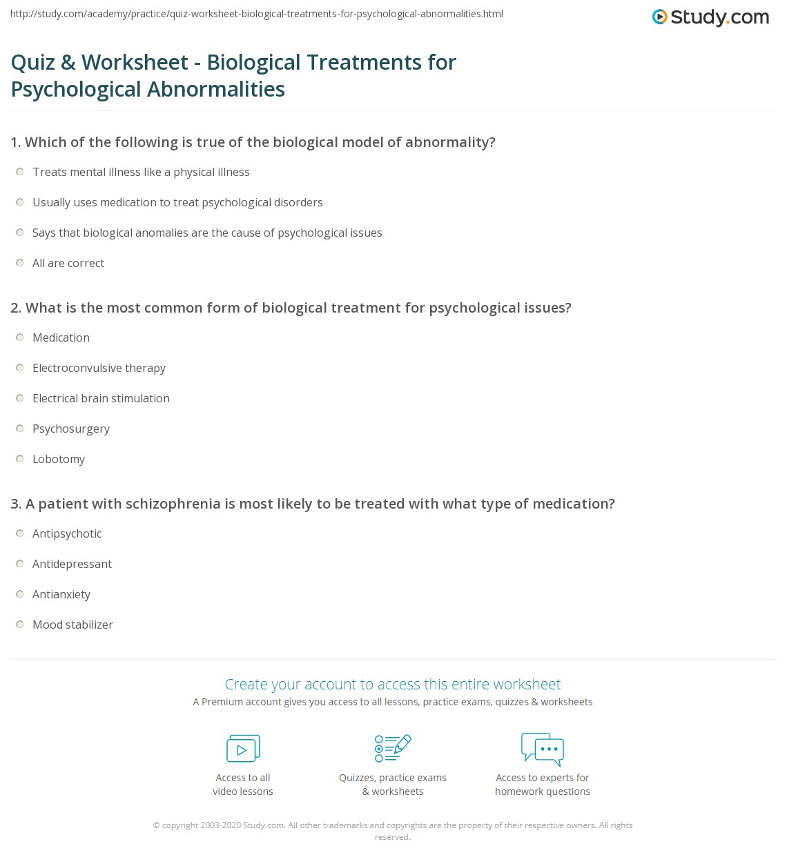 Quiz Worksheet Biological Treatments For Psychological Abnormalities Study Com